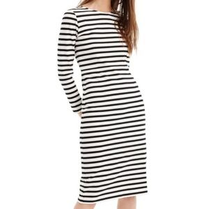 J Crew NWT Navy White Stripe Knee Length Dress